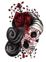 Red Rose Sugar Skull by cheshire-cat-19