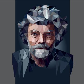 Low poly Reinhold Messner portrait by 3RDigraphics