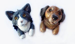 Kitty and Dachshund Pop-Out Ornaments by LeiliaClay