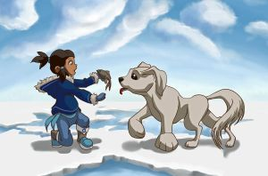 Little Korra and Naga by Daydreamer-520