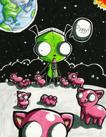 Invader ZIM: GIR Piggies-Done- by Lavenkitty