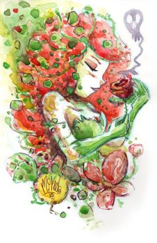 Watercolor: Poison Ivy by mikemaihack