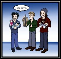 Three Men and a Mini-Misha by blackbirdrose