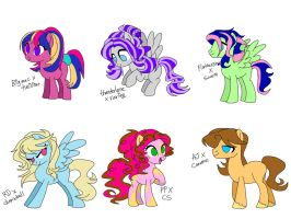 collab adopt: mane 6 x BGponies and such (auction) by SapphireScarletta