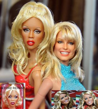 Rupaul doll meets Farrah Fawcett doll by noeling