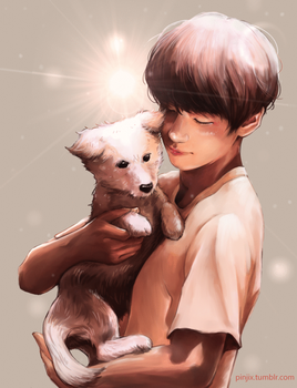 Taehyung and puppy by Pinjis