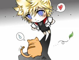 .:Roxas and the cat by Kawaii-Lisa-chan