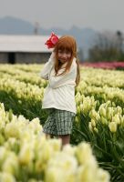 Sonja amongst the Tulips by iamkjelstrup