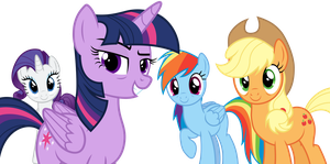 Tired Twi, Aj, Rarity and Rainbow by DJDavid98