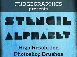 Stencil Alphabet Brush Set by fudgegraphics
