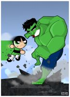 Buttercup vs Hulk by SirIngenious