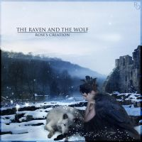 The Raven and the Wolf (square version) by dreamswoman