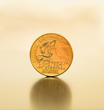 Sonic the hedgehog 10th anniversary gold coin by EGGMAN-X
