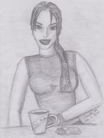 Lara Croft in Cafe Metro by Charlie-of-LHCblog
