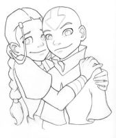 Aang and Katara Hug Inked by AmiraElizabeth
