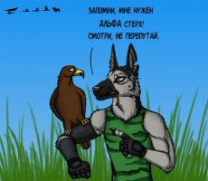 Hunt with eagle by BullTerrierKa