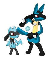 Lucario and Riolu by pokemonlover5673
