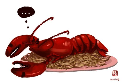 Angry Lobster on Noodle Base by wredwrat