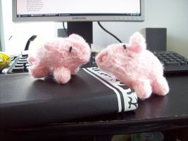 Two Knitted Piglets by Bonnzai