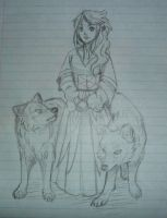 Girl and Two Wolves by SparksOfTheStars