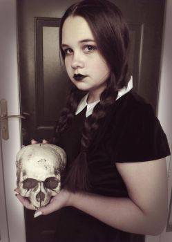 Wednesday Addams with Skull by a-chelsea-grin