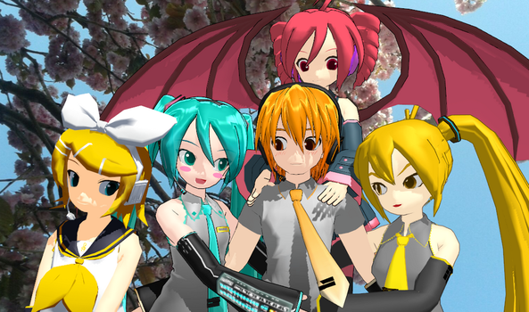 a springs day with MikuxNestie and the Girls by NestieBot