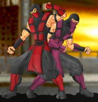 Ermac And Rain by Mawnbak