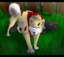 Zander defends by Mana-ghostwolf
