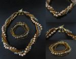 golden set with pearls and glass beads by elanor-V