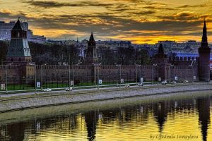 Kremlin wall at sunrise by Lyutik966