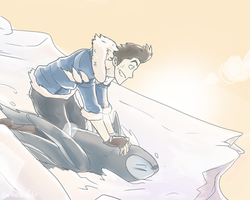 Penguin Sledding by artist-omako