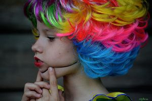 the girl - the clown with a multi-colored hairdres by focus1980