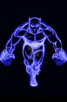 Black Panther Blue Neon by AlanSchell