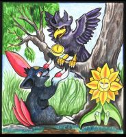 PokeFable: Murkrow and Sneasel by lemurkat