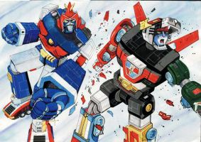 Voltes V _vs_ Voltron by bdy