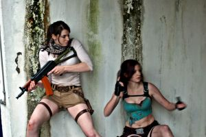 Take Cover: Drake!Lara and Lara Croft by Athora-x
