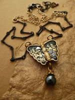 Black butterfly necklace by janedean