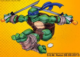 TMNT - :Sword Swingin' Leonardo: by StephRatte