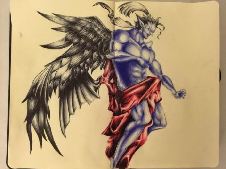 Kefka in Ink by DominionSamael