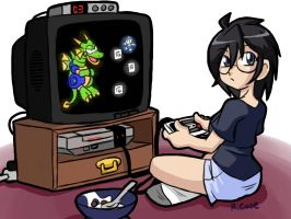 young Violet weekend gameing by rongs1234
