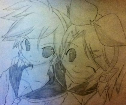 Kagamine Rin and Len by Raven9899