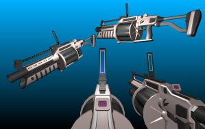 Futuristic 3D Multiple Grenade Launcher by Warkom