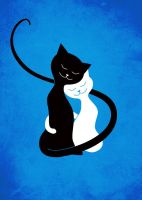 White And Black Cats In Love (blue) by azzza