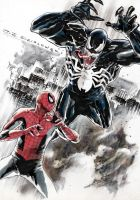 Spider-man vs Venom commission by JJDZIALOWSKI