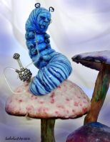 Blue Caterpillar and Hookah by SutherlandArt