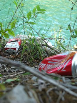 Trash by the quarry by HEMIII