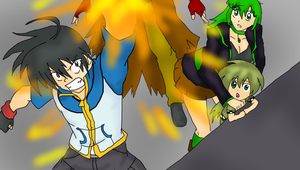 Satoshi rescuing Nanase by buring Envy's tentacles by s0ph14luvukn0w