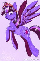 Princess Twilight Sparkle Sketch Card by alex-heberling