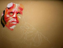 Hellboy WIP 1 by WitchiArt
