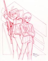 Sniper and Man in Blue request sketch by RedShoulder